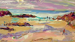 Trevone Bay, Near Padstow by Jeffrey Pratt - Original Painting on Board sized 21x12 inches. Available from Whitewall Galleries